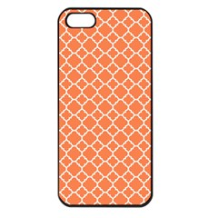 Tangerine Orange Quatrefoil Pattern Apple Iphone 5 Seamless Case (black) by Zandiepants