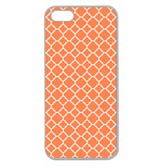 Tangerine Orange Quatrefoil Pattern Apple Seamless Iphone 5 Case (clear) by Zandiepants