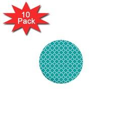 Turquoise Quatrefoil Pattern 1  Mini Button (10 Pack)  by Zandiepants