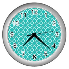 Turquoise Quatrefoil Pattern Wall Clock (silver) by Zandiepants