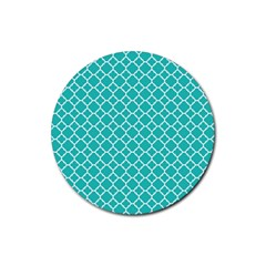 Turquoise Quatrefoil Pattern Rubber Coaster (round) by Zandiepants
