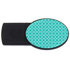 Turquoise Quatrefoil Pattern Usb Flash Drive Oval (2 Gb) by Zandiepants
