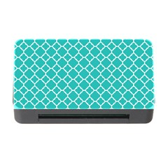 Turquoise Quatrefoil Pattern Memory Card Reader With Cf by Zandiepants