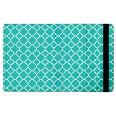 Turquoise Quatrefoil Pattern Apple Ipad 3/4 Flip Case by Zandiepants