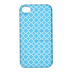 Bright Blue Quatrefoil Pattern Apple Iphone 4/4s Hardshell Case With Stand by Zandiepants