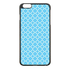 Bright Blue Quatrefoil Pattern Apple Iphone 6 Plus/6s Plus Black Enamel Case by Zandiepants