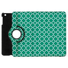 Emerald Green Quatrefoil Pattern Apple Ipad Mini Flip 360 Case