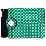 Emerald green quatrefoil pattern Apple iPad Mini Flip 360 Case Front