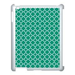 Emerald Green Quatrefoil Pattern Apple Ipad 3/4 Case (white) by Zandiepants