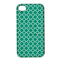 Emerald Green Quatrefoil Pattern Apple Iphone 4/4s Hardshell Case With Stand by Zandiepants