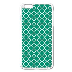Emerald Green Quatrefoil Pattern Apple Iphone 6 Plus/6s Plus Enamel White Case by Zandiepants