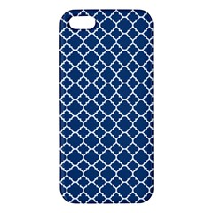 Navy Blue Quatrefoil Pattern Apple Iphone 5 Premium Hardshell Case