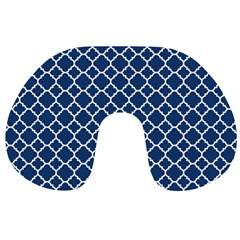 Navy Blue Quatrefoil Pattern Travel Neck Pillow by Zandiepants