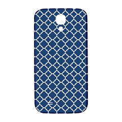 Navy Blue Quatrefoil Pattern Samsung Galaxy S4 I9500/i9505  Hardshell Back Case by Zandiepants