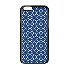 Navy Blue Quatrefoil Pattern Apple Iphone 6/6s Black Enamel Case by Zandiepants