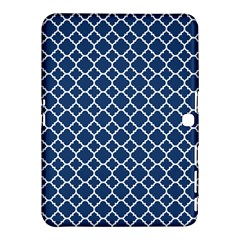 Navy blue quatrefoil pattern Samsung Galaxy Tab 4 (10.1 ) Hardshell Case  by Zandiepants