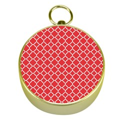 Poppy Red Quatrefoil Pattern Gold Compass by Zandiepants