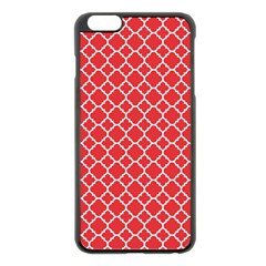 Poppy Red Quatrefoil Pattern Apple Iphone 6 Plus/6s Plus Black Enamel Case by Zandiepants