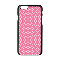 Soft Pink Quatrefoil Pattern Apple Iphone 6/6s Black Enamel Case by Zandiepants