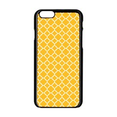 Sunny Yellow Quatrefoil Pattern Apple Iphone 6/6s Black Enamel Case by Zandiepants