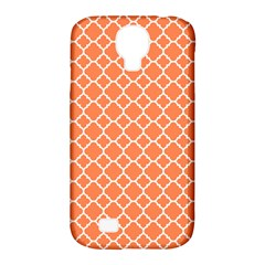 Tangerine Orange Quatrefoil Pattern Samsung Galaxy S4 Classic Hardshell Case (pc+silicone) by Zandiepants