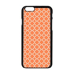 Tangerine Orange Quatrefoil Pattern Apple Iphone 6/6s Black Enamel Case by Zandiepants