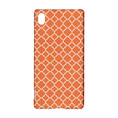 Tangerine Orange Quatrefoil Pattern Sony Xperia Z3+ Hardshell Case by Zandiepants
