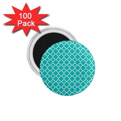 Turquoise Quatrefoil Pattern 1 75  Magnet (100 Pack)  by Zandiepants