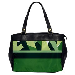 Abstract Jungle Green Brown Geometric Art Office Handbags by CircusValleyMall