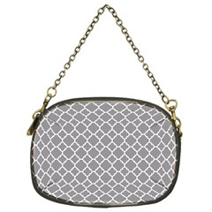 Grey Quatrefoil Pattern Chain Purse (one Side) by Zandiepants
