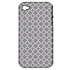 Grey Quatrefoil Pattern Apple Iphone 4/4s Hardshell Case (pc+silicone) by Zandiepants