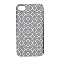 Grey Quatrefoil Pattern Apple Iphone 4/4s Hardshell Case With Stand by Zandiepants