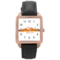 Barcelona City Art Rose Gold Leather Watch  by hqphoto
