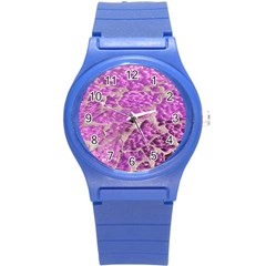 Festive Chic Pink Glitter Stone Round Plastic Sport Watch (s) by yoursparklingshop