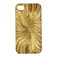 Chic Festive Elegant Gold Stripes Apple Iphone 4/4s Hardshell Case With Stand by yoursparklingshop