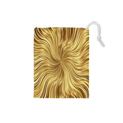 Chic Festive Elegant Gold Stripes Drawstring Pouches (small)  by yoursparklingshop