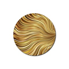 Chic Festive Gold Brown Glitter Stripes Rubber Round Coaster (4 Pack)