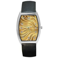 Chic Festive Gold Brown Glitter Stripes Barrel Style Metal Watch by yoursparklingshop