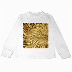 Chic Festive Gold Brown Glitter Stripes Kids Long Sleeve T Shirts by yoursparklingshop