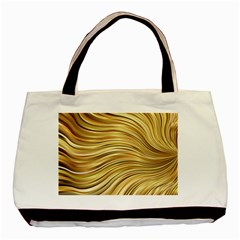 Chic Festive Gold Brown Glitter Stripes Basic Tote Bag (two Sides) by yoursparklingshop