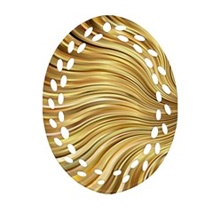 Chic Festive Gold Brown Glitter Stripes Oval Filigree Ornament (2 Side)  by yoursparklingshop