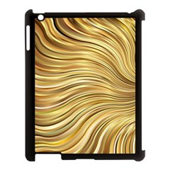 Chic Festive Gold Brown Glitter Stripes Apple Ipad 3/4 Case (black) by yoursparklingshop
