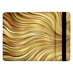 Chic Festive Gold Brown Glitter Stripes Samsung Galaxy Tab Pro 12 2  Flip Case by yoursparklingshop