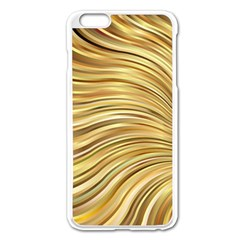 Chic Festive Gold Brown Glitter Stripes Apple Iphone 6 Plus/6s Plus Enamel White Case by yoursparklingshop