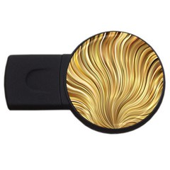 Gold Stripes Festive Flowing Flame  Usb Flash Drive Round (4 Gb)  by yoursparklingshop
