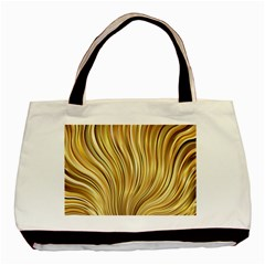 Gold Stripes Festive Flowing Flame  Basic Tote Bag (two Sides) by yoursparklingshop