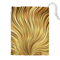 Gold Stripes Festive Flowing Flame  Drawstring Pouches (xxl) by yoursparklingshop