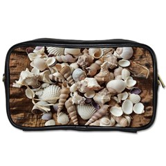 Tropical Sea Shells Collection, Copper Background Toiletries Bags 2 Side by yoursparklingshop
