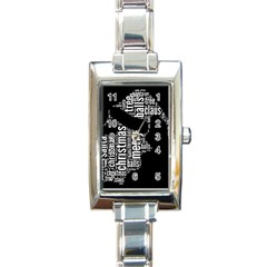 Funny Santa Black And White Typography Rectangle Italian Charm Watch by yoursparklingshop
