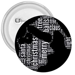 Funny Santa Black And White Typography 3  Buttons by yoursparklingshop